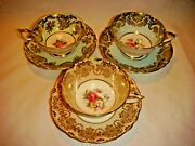 3 Vintage Paragon Double Warrant Heavy Gold Floral Tea Cups And Saucers