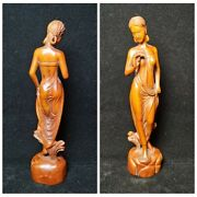 8 Sexy Woman Wood Carving Home Arts Craft Wooden Decor Love Statue Carved Gifts