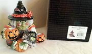 Fitz And Floyd 2006 Witch Double Candle Holder W/lizard, Frog Cat Floral Shawl Nib