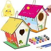 Bird House Kit, Wooden Birdhouse Arts Build And Large-1 2 Pack Diy