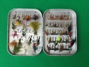 Vintage Wheatley Silmalloy Clip Fly Box. Approx 45 Fishing Flies