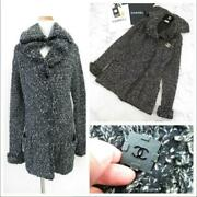 Sale 11a Deformed Collar Thick Cashmere Mixed Knit Long Coat 34 No.7986