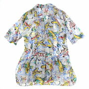 Coco Button Total Pattern Short Sleeve Shirt Blouse Multi No.6698