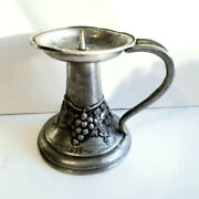 Antique 1836 Decorative Pewter Candlestick Small Tin Candle Holder Grapes Handle