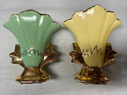 Antique Gold And Green/yellow Planter Vases. Set Of 2. 6 1/2 Inches Tall.