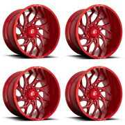 Set 4 24 Fuel D742 Runner 24x12 Candy Red Milled 8x170 For Ford Wheels -44mm