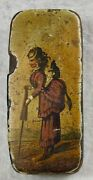 Great Antique Paper Papier Macheand039 Lacquer Snuff Box W/ Monkey On Womanand039s Back