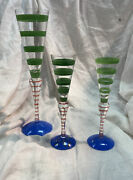 3 Orrefors Anne Nilsson Clown Flutes 1 10-5/8 Champagne And 2 7.5 Cordial