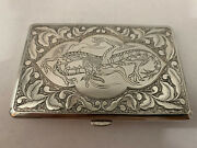 Antique Chinese Sterling Silver Cigarette Case Featuring A Embossed Dragon 137g