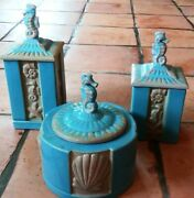 Vtg Set Of 3 Ceramic Canisters Food Storage Containers With Lids Sea Horse Decor