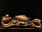 Chinese Old Wooden Statue Carvings Decor Sculpture Boxwood Wooden Fish Gifts Art