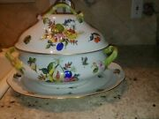 Herend Fruits And Flowers Large Tureen And Platter Set Brilliant Painting