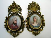 Antique 19c Lady And Man Miniature Paintings Signed Carved Gilt Wood Frame
