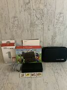 Nintendo New 3ds Super Mario Black Edition Console In Box,charger,case,4 Games