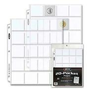 Coin Protector Album Binder Plastic Sheets Sleeves 20 Pocket X 20 Pages 2 X2