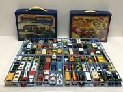 Matchbox Lot Of 95 Vintage Diecast Cars Late 1970s-1980s And 2 Car Cases + Catalog