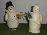 Set Of 2 Mr. And Mrs. Snowman Christmas Bethany Lowe Figure Decorations