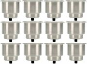 12 Pcs Stainless Steel Cup Drink Holder With Drain For Marine Boat Rv Camper