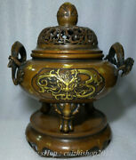 16 Marked Old Chinese Red Copper Gilt Dragon Beast Handle Incense Burners