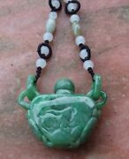 Certified 100 Natural A Jade Jadeite Pendant Turtle Snuff Bottle W Ring 442865
