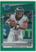 2020 Panini Donruss Optic Jalen Hurts Rated Rookie Green Prizm /5 Limited To