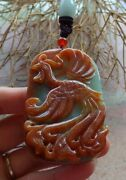 Certified Red Green Natural A Jade Jadeite Pendant Phoenix Necklace 凤凰 519054