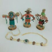 Lot Of 3 Authentic Native Handmade Wooden Figurines Mud Head Hoops Eagle