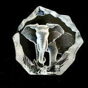 Mats Jonasson Lead Crystal Elephant Paperweight Sweden 3630 Signed 5.5x5.5