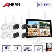 8ch 3mp Wireless 12and039and039lcd Nvr Wifi Audio Outdoor Home Security Camera System Kit