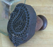 Primitive Country Farmhouse Paisley Fire Flower Wood Butter Mold Stamp Press