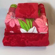 2 Vintage Bath Towels + Washcloth Sculpted Cannon Golden Crown Red Pink Flowers
