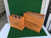 Louis Vuitton Large And Small Orange Gift Shopping Paper Bag