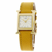 Hermes H Watch Watches Rs1.201 Gold Plated/leather Ladies