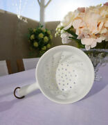 Vintage French White Ceramic Strainer Or Colander, With Handle, French Farmhouse