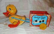 Vintage 1952 Fisher Price Musical Duck 795 Wooden Pull Toy Works Great Condition