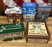 Lot Of 5 Vintage Hershey Decorative Tins Chocolate - Refillable