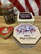 Lot Of 4 Vintage Hershey Decorative Tins Chocolate - Refillable