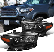 Headlights For 2016 2017 2018 Toyota Tacoma Black Housing Projector Lamps Pair