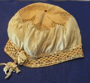 Silk + Crochet Antique Cap With Ribbons Woven Into The Headband Edging Of Cap