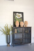 Gwg Outlet Short Iron And Glass Apothecary Cabinet Cll1279