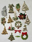 Lot 16 Vintage Christmas Costume Jewelry Brooches - All Signed Jj Art Gerryand039s
