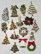 Lot 16 Vintage Christmas Costume Jewelry Brooches - All Signed Jj, Art, Gerry's