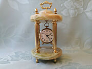 Collectible Vintage Gemstone Marble Onyx Tabletop Europa Clock