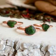 Raw Chrome Diopside Copper Ring | Chrome Diopside Ring | Electroformed Jewelry