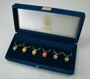Faberge Egg Wine Glass Charms Set Of Six In Velvet Case - Excellent Condition
