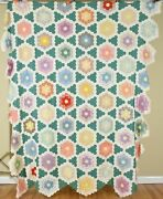 Graphic Vintage 30and039s Flower Garden Stars Mosaic Antique Quilt Top Small Pieces
