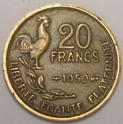 1950 France French 20 Francs Rooster Coin Vf