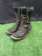 Vintage Whiteand039s Boots Sz 9 D Black Leather Smokejumper Logger Fire Fighter Euc