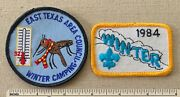 2 1980s East Texas Area Council Boy Scout Winter Camping Patches Bsa Tx Badge
