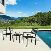 3 Pcs Patio Dining Set Bistro Conversation Iron Square Table Chairs Furniture